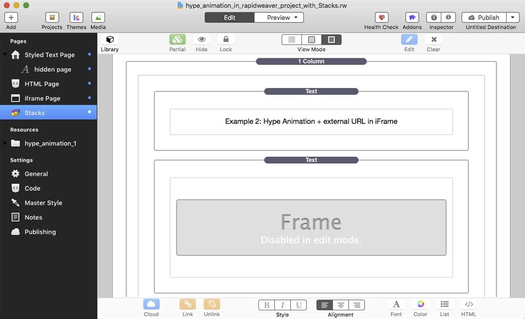 Embedding Hype Animations in RapidWeaver