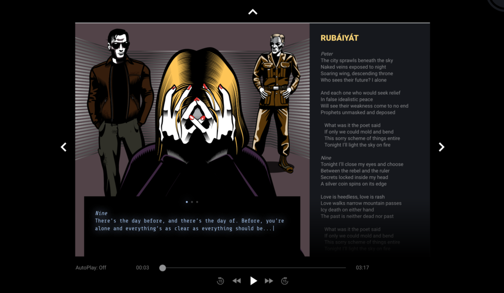 Song scene screenshot of three characters Seven, Nine, and Peter. Shows hidden popup text and scrolling lyrics.